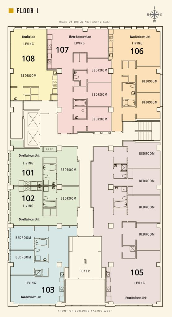 FLoor Plan for the first floor of the Sterchi Building in Knoxville, TN