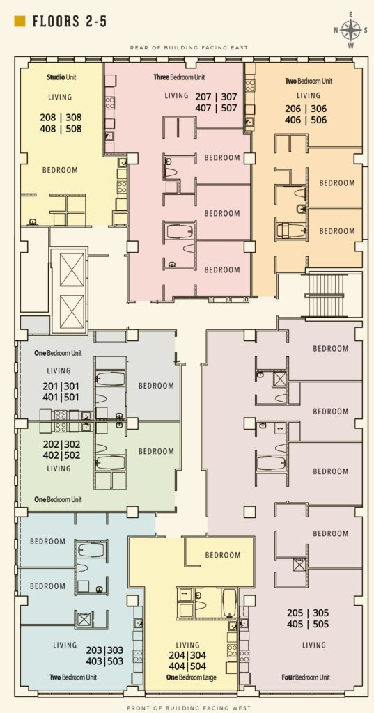 Floor Plan for floors 2-5 in the Sterchi Building in Downtown Knoxville