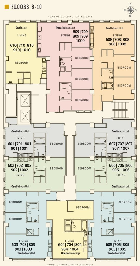 Floor Plan for floors 6-10 for Sterchi Building in Knoxville TN